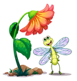 A smiling dragonfly below the giant flower vector image vector image