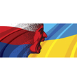 Angry face of Russia to Ukraine vector image vector image