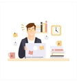 Angry Man Office Worker In Office Cubicle Having vector image vector image