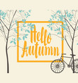 autumn landscape with trees and bike vector image vector image