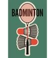 Badminton typographic vintage style poster vector image
