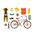 Bicycle and Accessories Set Sportive Lifestyle vector image vector image