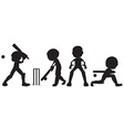 Black sketches of people playing cricket vector image vector image