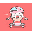 bright color smile donut in helmet riding vector image vector image