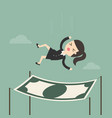 businesswoman falling into a financial safety net vector image vector image