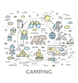 Camping Round Composition vector image vector image