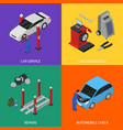 car auto service banner card set isometric view vector image vector image