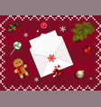 christmas open envelope with empty sheet vector image vector image