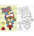coloring book or page with funny motor racer