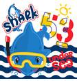 cute cartoon shark wearing snorkel gear vector image vector image