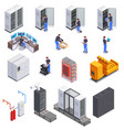 data center isometric set vector image vector image