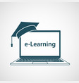distant learning online education graduate hat vector image