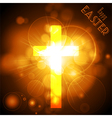 easter cross on a golden glowing background vector image vector image