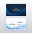 elegant blue wave business card design vector image vector image