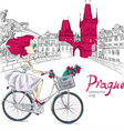 Fashion girl in white dress on bike in Prague vector image vector image