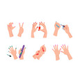 female hands with neat modern bright manicure vector image vector image