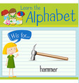 Flashcard letter H is for hammer vector image vector image