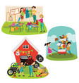 garage sale sellers sell old goods low price vector image vector image