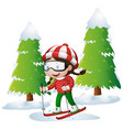 girl skiing on the snow hill vector image