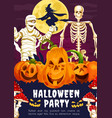 halloween banner with pumpkin skeleton and witch vector image vector image