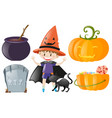 halloween set with boy in costume and pumpkin vector image