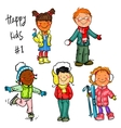 Happy Kids - part 1 Winter edition vector image vector image