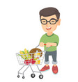 little caucasian boy with his shopping trolley vector image vector image