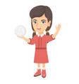 little caucasian girl holding a volleyball ball vector image