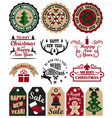 merry christmas symbols set vector image vector image