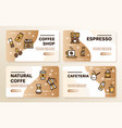 natural coffee color linear icons set vector image vector image