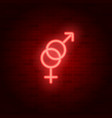 neon heterosexuality sign male and female symbol vector image