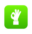 ok gesture icon digital green vector image
