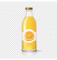 orange juice bottle glas with juice label vector image