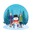 parents couple with kids and snowman in snowscape vector image