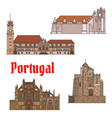 portuguese travel landmarks thin line icon set vector image vector image