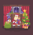 santa claus sitting in a chair in a cozy room vector image vector image