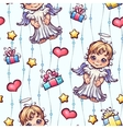 seamless pattern with cartoon angels and gift vector image vector image