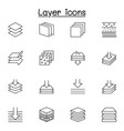 set layer related line icons contains such vector image vector image