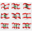 Set of Lebanon flags in the air vector image vector image