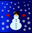snowman with a cylinder vector image vector image