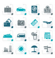 stylized travel and vacation icons vector image