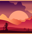 view on sunset in sandy desert landscape with vector image