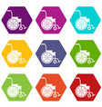 wheelchair icon set color hexahedron vector image vector image
