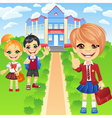 Happy smiling schoolchildren girls and boy vector image