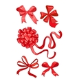 set of five red bows vector image