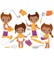 African American Little Chefs Set vector image vector image
