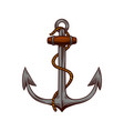 anchor in engraving style on white background vector image vector image
