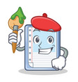 artist clipboard character cartoon style vector image