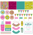 Baby Girl Shoes Party Set vector image vector image
