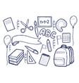back to school supplies sketchy notebook doodles vector image vector image